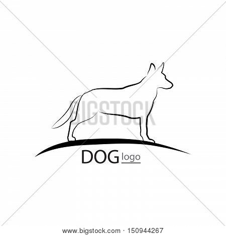 Dog Symbol. Pet Logo Design. Dog Standing Silhouette
