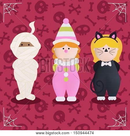 Cute cartoon halloween characters icon set. Character of Halloween in monster costume - mummy, clown and black cat. An vector illustration of kids in halloween costumes.