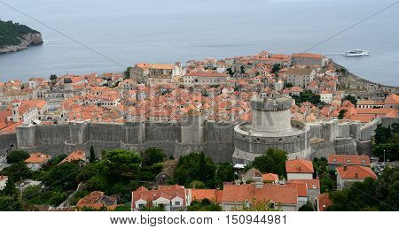 The old city of Dubrovnik with Adriatic (Croatia).