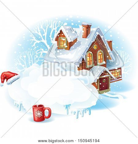 Christmas sticker with the house in winter