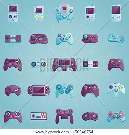 Video game icons set. Flat style vector illustration. Collection of gaming devices