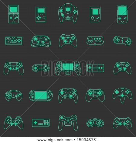 Video game icons set. Flat style vector illustration. Collection of gaming devices. Thin line icons
