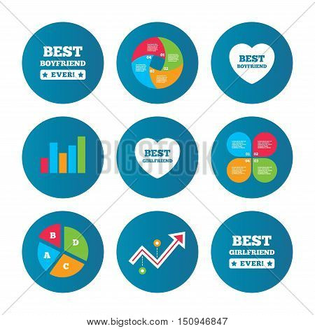 Business pie chart. Growth curve. Presentation buttons. Best boyfriend and girlfriend icons. Heart love signs. Award symbol. Data analysis. Vector