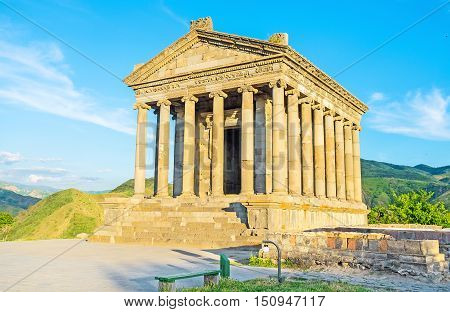 The colonnaded facade of Garni Temple with preserved decors on columns' capitals roof and friezes Kotayk Province Armenia.