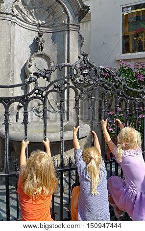 Manneken Pis statue in Brussels (Belgium), Europe