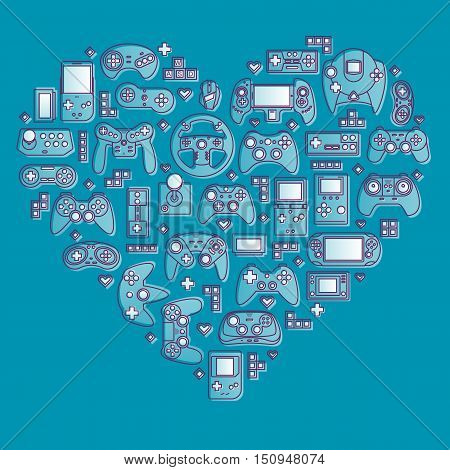 Love video games. Flat design vector illustration concept of game environment and devices. Thin line icons.