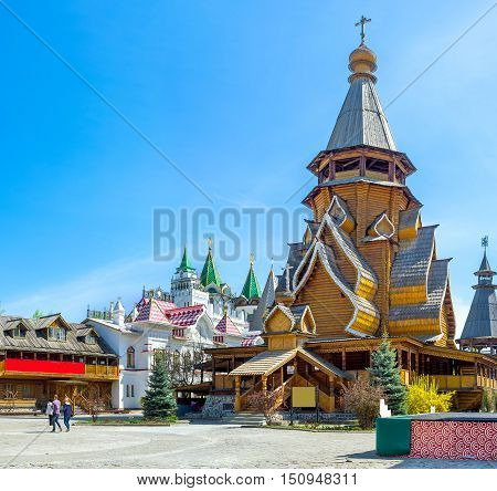 The highest timbered church in Russia located in Izmailovsky Kremlin dedicated to St Nicholas and boasts complex multi-level roof a couple of carved porches and covered gallery Moscow.