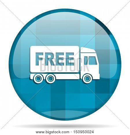 free delivery blue round modern design internet icon on white background
