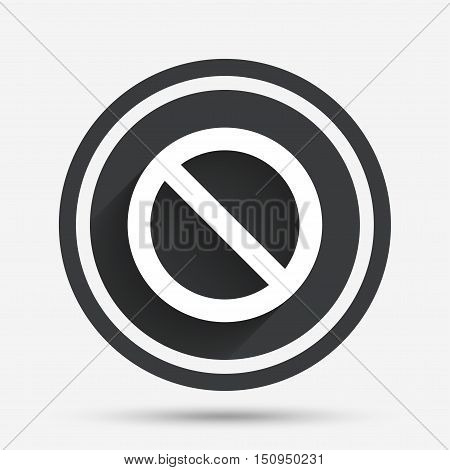 Blacklist sign icon. User not allowed symbol. Circle flat button with shadow and border. Vector