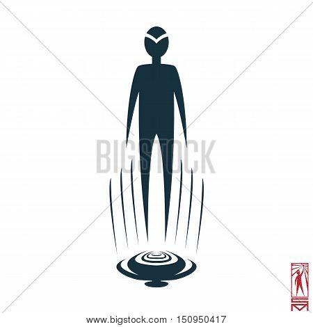 Man Person Basic body position Stick Figure Icon silhouette vector sign,flyer, rise, levitation, shadow, pilot, plan,