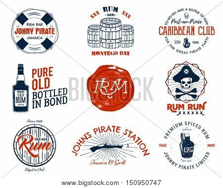 Set of vintage handcrafted emblems, labels, logos. Isolated on a white background. Sketching filled style. Pirate and sea symbols - old rum bottles, barrels, skull, pistol. Red color. Vector illustration