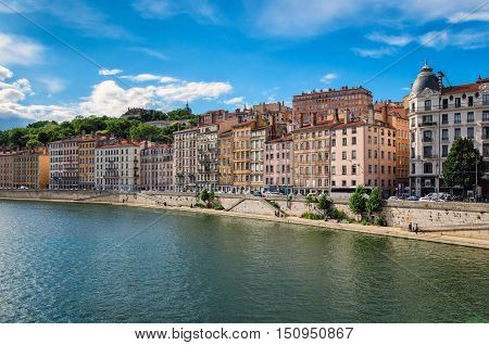 Lyon (France) old buildings in the historic city near river Saone