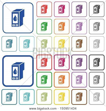 Set of ink cartridge flat rounded square framed color icons on white background. Thin and thick versions included.