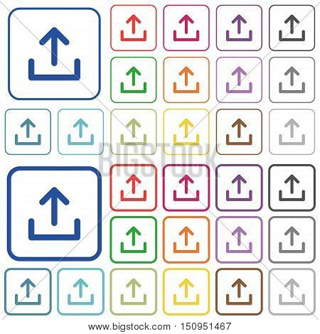 Set of upload flat rounded square framed color icons on white background. Thin and thick versions included.