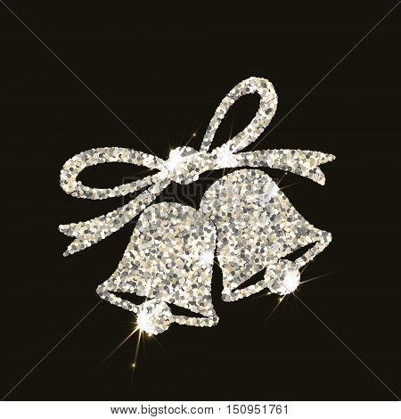 Christmas bells in silver style with flares on dark background. Vector illustration.