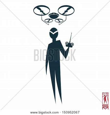 Man Person Basic body position Stick Figure Icon silhouette vector sign,pilot, drone, drone, remote control, control, flight, launch, navigation, intelligence.Character with soaring drone