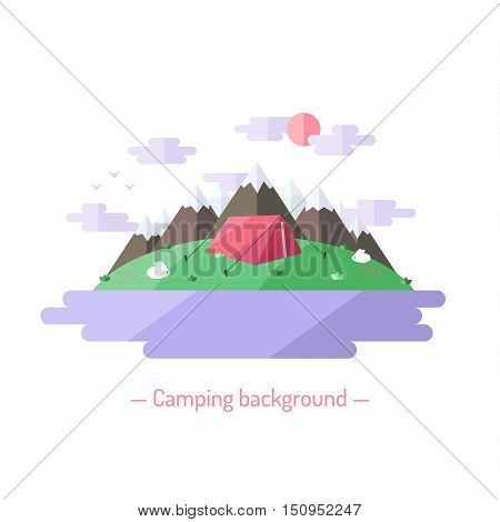 Camping vector flat style illustration with mountains. Nature background with lake expedition tent and bunnies.
