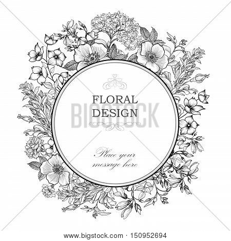 Floral background. Flower bouquet vintage vector cover. Flourish greeting card with circle frame