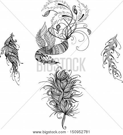 Oriental handdrawn vector phoenix in doodle style with feathers