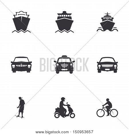 character set of logos of transportation, merchant ships, car, bicycle, scooter, skateboard