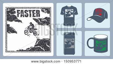 Vector image of jumping biker. Vector image of biker on a motorcycle. Silhouette of biker to print things. Isolated Backer jump for the press. Baseball cap, cup, phone cover, T-shirt