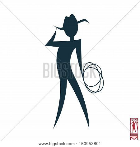 Man Person Basic body position Stick Figure Icon silhouette vector sign,cowboy, hero, macho, cowboy hat, lasso, wild west, Texan