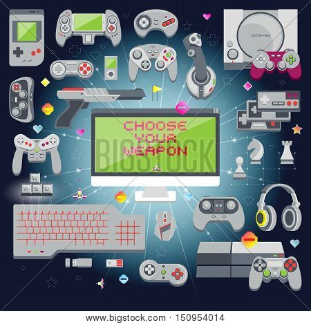 Flat design vector illustration concept of game environment tools and essentials. Various devices. Collection of virtual computer game consoles.