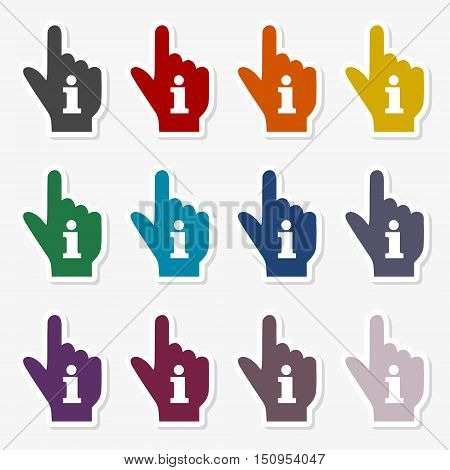 Pointing finger hand with an info sign sticker set