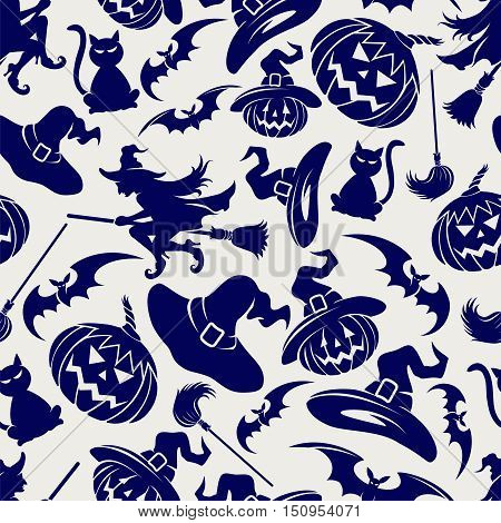 Halloween seamless pattern with witch hat cats bats and pumpkins. Vector illustration