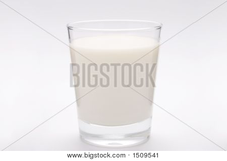 Glass Of Milk On White Background