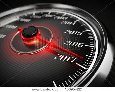 2017 year car speedometer concept. 3d render