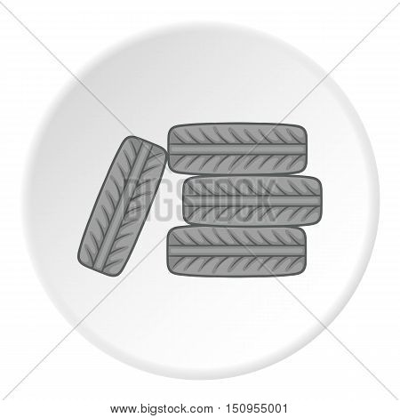 Tires icon. Cartoon illustration of tires vector icon for web