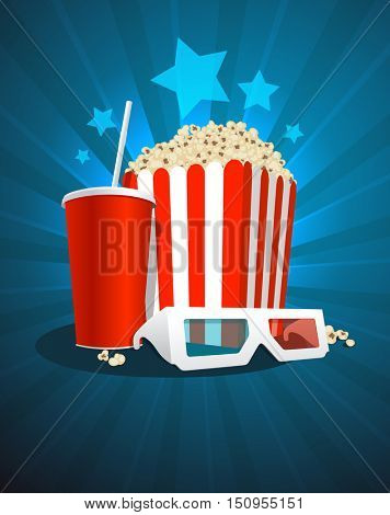 Cinema poster with popcorn box, cola and 3D glasses, rasterized version