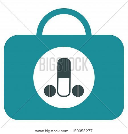 Male Sexual Toolbox vector icon. Style is bicolor flat symbol, soft blue colors, rounded angles, white background.