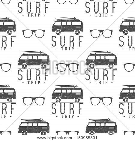 Surfing Seamless pattern with surfing glass. Surfer van, glasses elements. Surfing rv wallpaper printing design. Surfing combi. Summer print, background texture. Surf vacation trip. Silhouette.