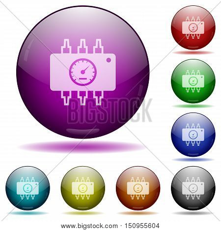 Set of color hardware diagnostics glass sphere buttons with shadows.
