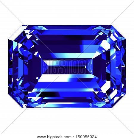 Sapphire Emerald Cut Over White Background. 3D Illustration.