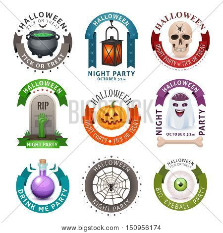 Happy Halloween badges and labels isolated on white. Fancy design vector illustration.