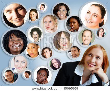 女商人的社交网络。