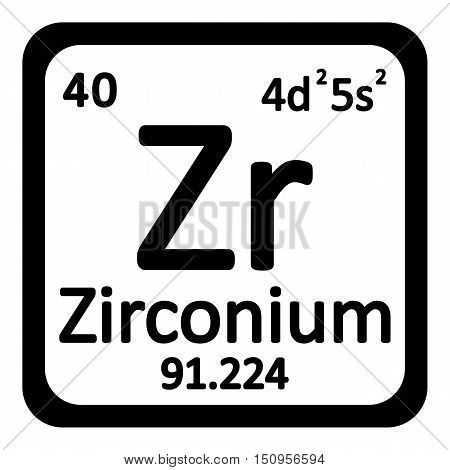 Periodic table element zirconium icon on white background. Vector illustration.