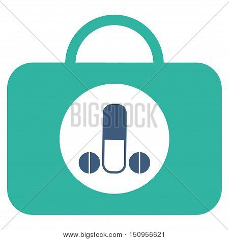 Male Sexual Toolbox vector icon. Style is bicolor flat symbol, cobalt and cyan colors, rounded angles, white background.