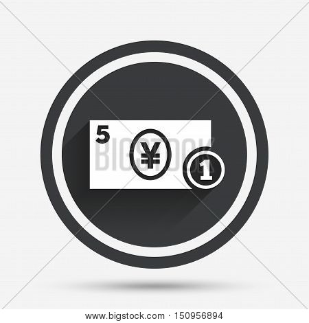 Cash sign icon. Yen Money symbol. JPY Coin and paper money. Circle flat button with shadow and border. Vector