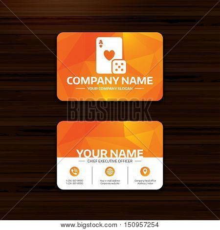 Business or visiting card template. Casino sign icon. Playing card with dice symbol. Phone, globe and pointer icons. Vector