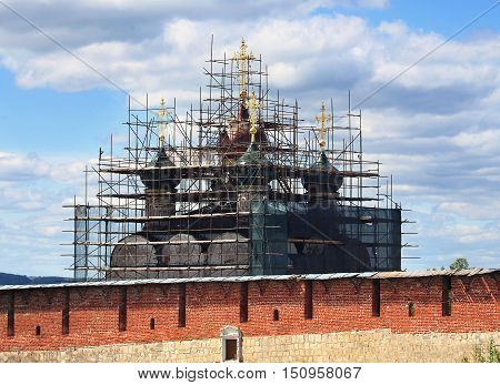 Restoration of the church behind ancient massive wall of Kremlin in Zaraysk Moscow region