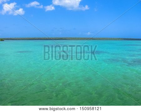 The spectacular natural pool of Canto de la Playa, Saona Island in East National Park, Dominican Republic. Canto de la Playa is one of the most popular tours starting from the Bayahibe.