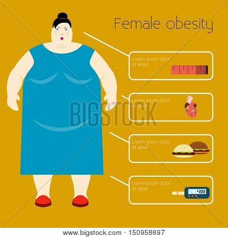 Obesity woman Vector illustration Infographic causes and consequences of woman's obesity