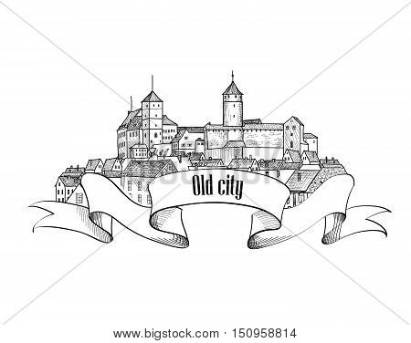Old german city sign with bow ribbon. Downtown view. Medieval european castle landscape. Pensil drawn engraving vector sketch