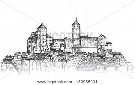 Old city view. Medieval european castle landscape. Pensil drawn sketch cityscape skyline