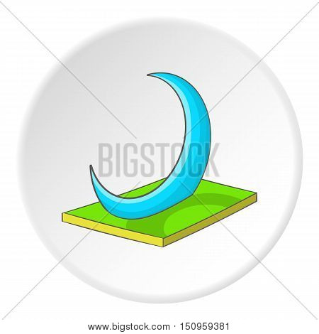 Skyscraper crescent in UAE icon. Cartoon illustration of skyscraper crescent in UAE vector icon for web