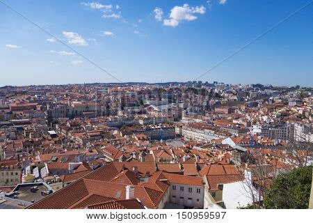 Skyline of Lisbon, capital city of Portugal